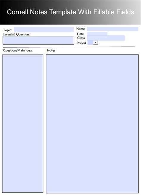 8 printable cornell notes templates free word pdf format