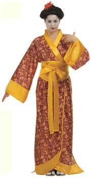 Geisha kimono in gold and red design including wide gold belt
