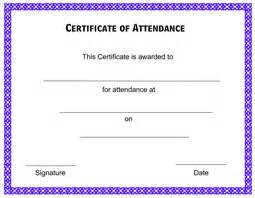 Attendance Certificate Template Free by Free Printable Attendance Certificate Templates