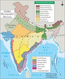 physiographic map of physiographic divisions map of india india physiographic