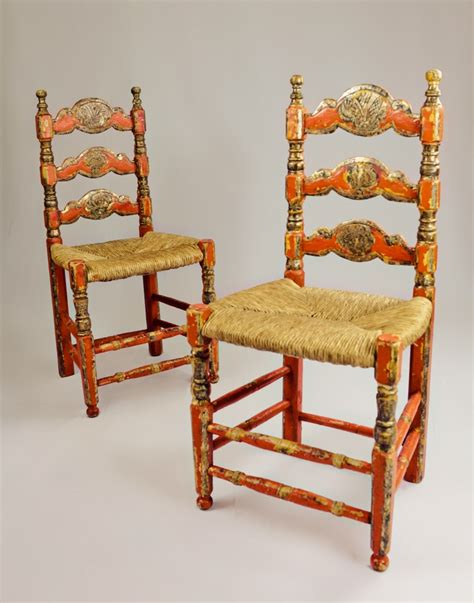 Mexican Chairs set of four unique antique seated mexican chairs