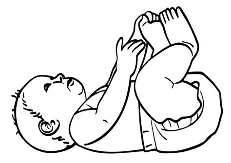 baby in diaper laying on back coloring pages pinterest