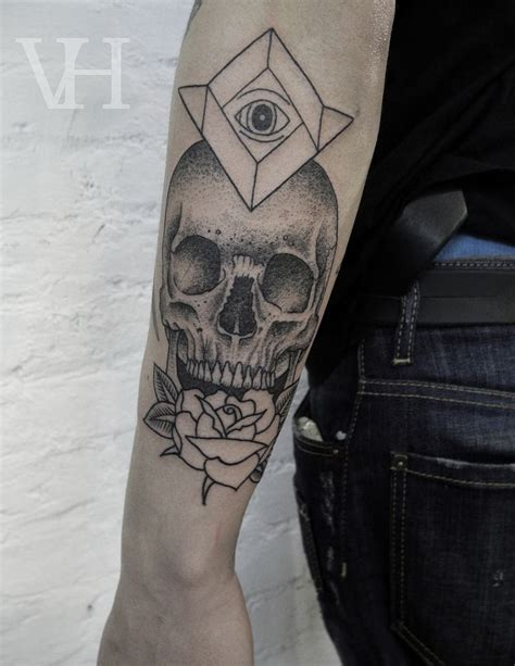 geometric tattoo kent skull rose and all seeing eye tattoo by valentin hirsch