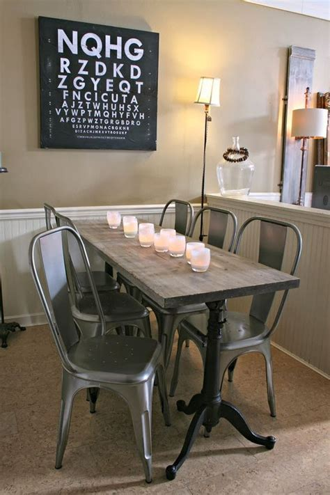 Wood Table Metal Chairs by Metal Chairs Metals And Narrow Table On