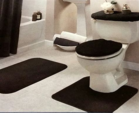 black bathroom rug black bathroom rug set 4 pc new ebay