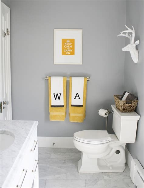 Yellow and grey bath for the home pinterest