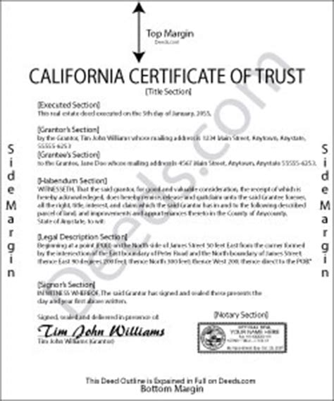 California Certificate Of Trust Forms Deeds Com Certificate Of Trust Template