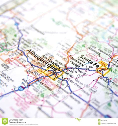 albuquerque map usa road map of new mexico usa stock photo image 42373976