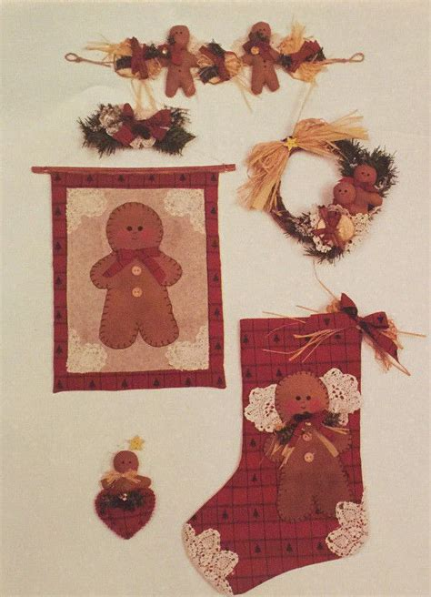 free pattern for primitive christmas stocking new 1994 primitive sewing pattern gingerbread stocking