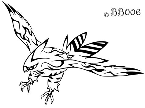 pokemon coloring pages fletchling tribal talonflame by blackbutterfly006 on deviantart