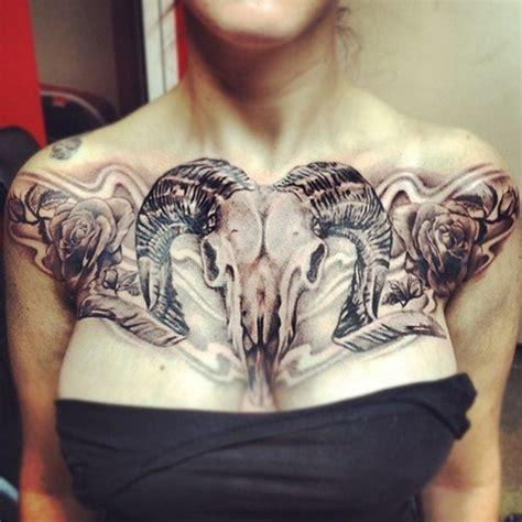 unique tattoo on chest unique skull tattoo skull breast tattoo on tattoochief com
