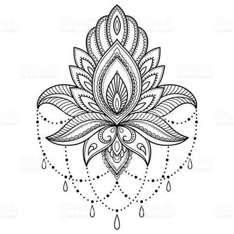 fleur de lotus mandala coloriagetv henna tattoo flower template in indian style ethnic floral