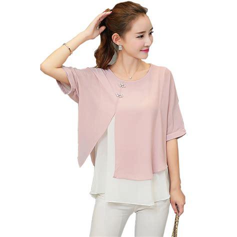 Layer Batwing Blouse new fashion 2017 summer casual chiffon blouses