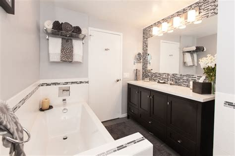 Modern White Tile Bathroom by Gray White Tile Modern Bathroom Remodel Modern