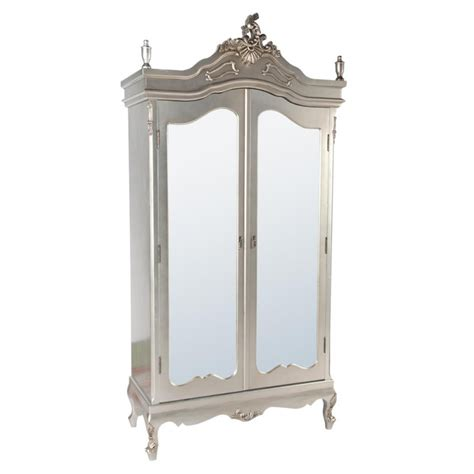 silver armoire silver armoire wardrobe with full mirror doors forever