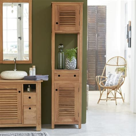 badmöbel wandschrank badezimmer badezimmer hochschrank bambus badezimmer