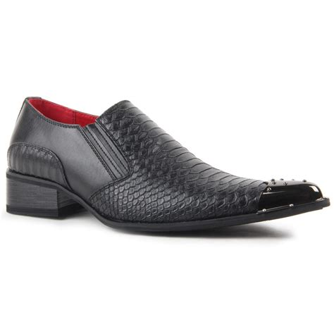 Crocodile Freed Casual Slip On smart casual shoes croc skin slip on metal toe pointed leather lined loafer ebay