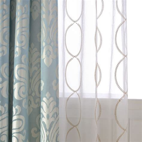 Sheer Patterned Curtains A Pair Of Gold Leaf Infinity Patterned Embroidey Sheer