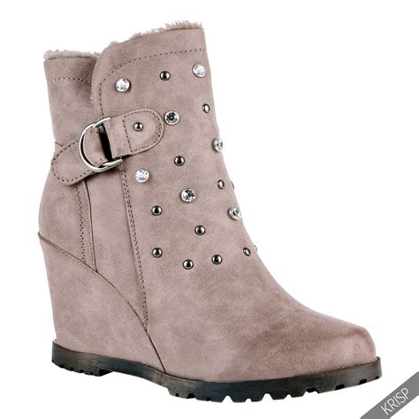 winter high heel boots fur lined studded wedge ankle boots high heel