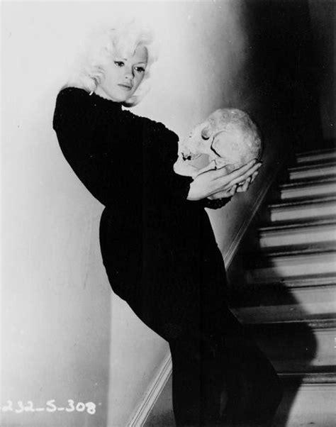 Jayne Mansfield Wardrobe by Jayne Mansfield Holding Human Skull Portrait Black