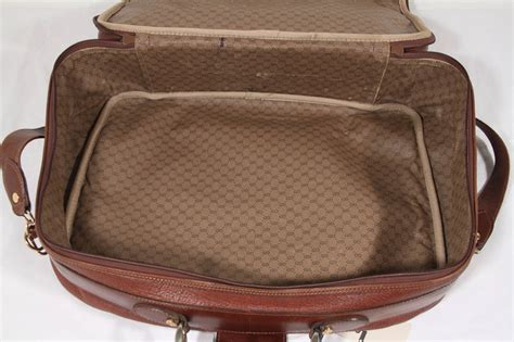 Gucci Cabin Luggage by Gucci Italian Vintage Brown Leather Cabin Size Suitcase