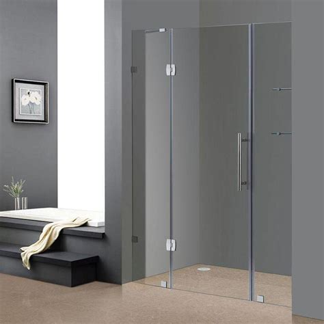 Hinged Glass Shower Door Aston Soleil 60 In X 75 In Completely Frameless Hinged Shower Door In Chrome With Glass