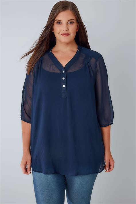 S Chiffon Button Blouse by Navy Sheer Chiffon Button Up Blouse With 3 4 Length