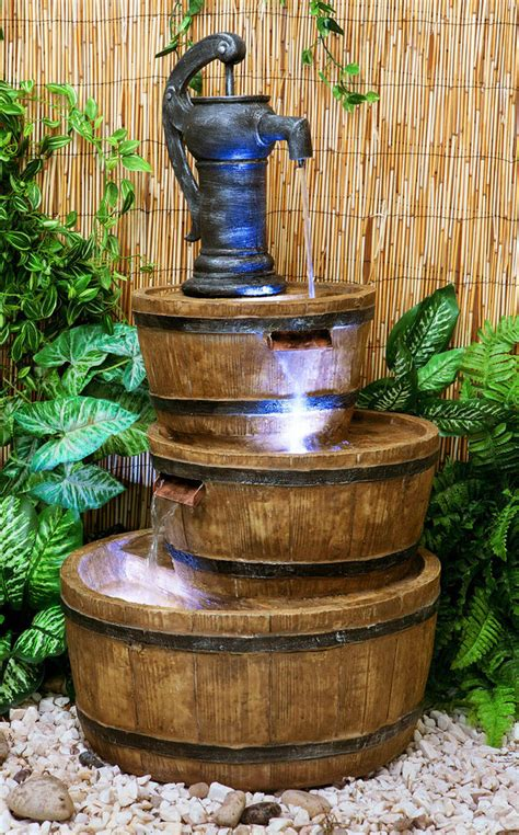 london three tiered barrel pump water feature fountain