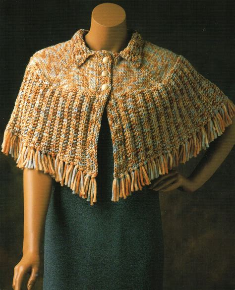 knit cape cape poncho capelet knit knitting pattern fringed by