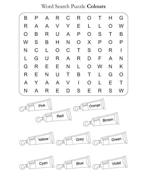 world of color time word search puzzle colors homeschool free