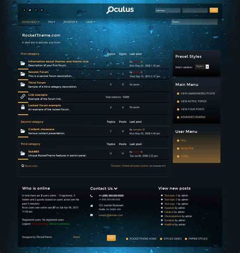 phpbb forum templates oculus phpbb style premium phpbb3 theme from rockettheme