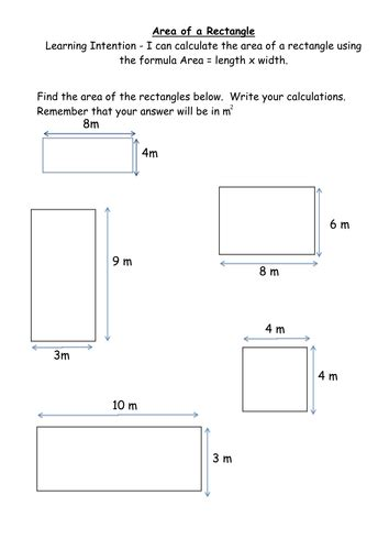Calculating Area Of A Rectangle Worksheets