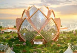 Lotus Flower Architecture City In The Sky Futuristic Flower Towers Soar Above