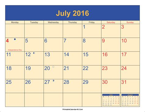 Calendars With Holidays July 2016 Calendar Printable With Holidays Pdf And Jpg