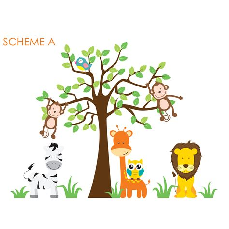 jungle nursery wall stickers wall decal source nursery jungle tree giraffe and safari