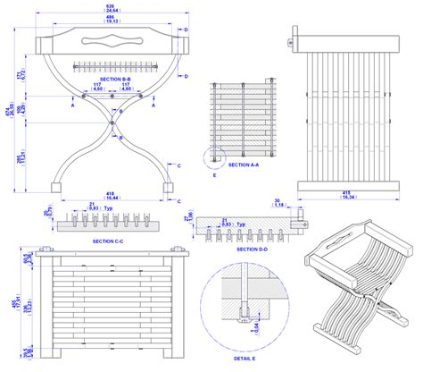 medieval chair plan assembly  drawing senza data