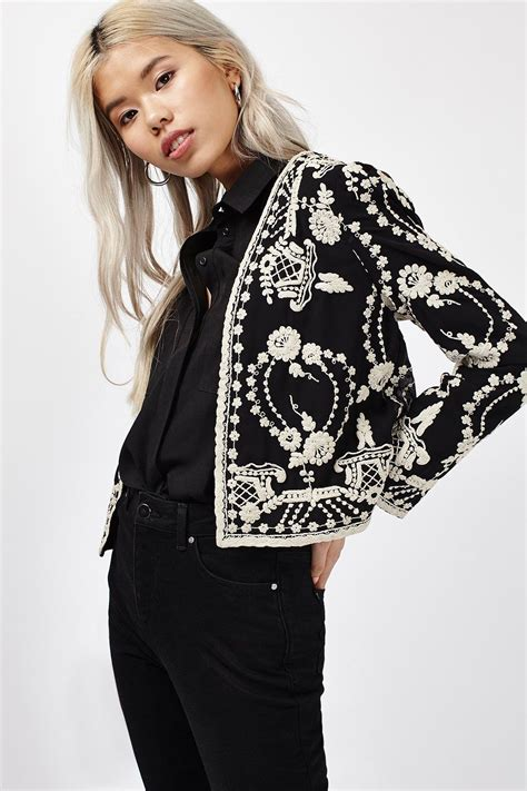 embroidery jacket lace embroidered jacket jackets coats clothing topshop