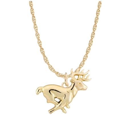 ster 10k gold running deer necklace 150903 jewelry