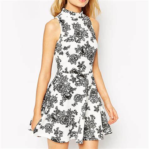 Deashyta Flowery Turtle Neck Mini Dress white preppy sleeveless turtleneck floral dress 15dr00144