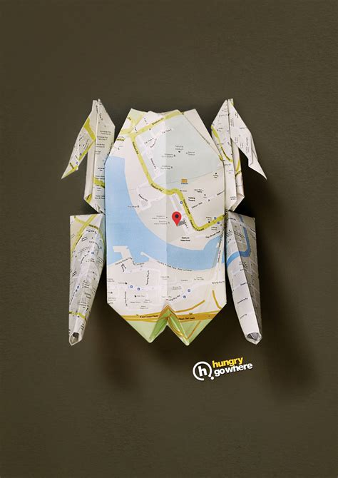 origami advertising hungry go where print advert by bbdo origami chicken