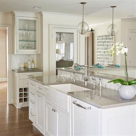 White Kitchen Cabinets With Grey Quartz Countertops White Quartz Kitchen Countertops