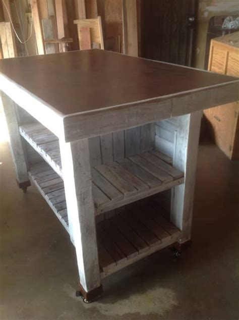 metal top kitchen island metal topped rolling pallet kitchen island 1001 pallets