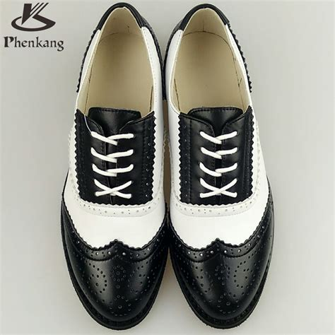 Black And White Flat Shoes genuine leather flat shoes sping vintage