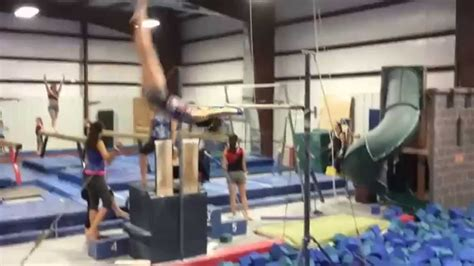 Gymnastics Layout Half | double layout half out bar dismount youtube