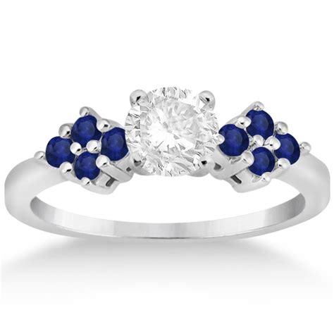 Blue Sapphire 3 35ct designer blue sapphire floral engagement ring 14k white