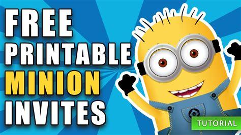 Diy Free Printable Minion Birthday Invite How To Video Youtube Minion Birthday Invitations Templates Free