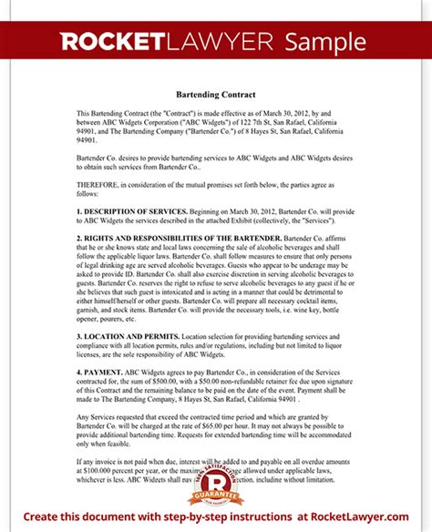 bartender contract form bartending agreement sample