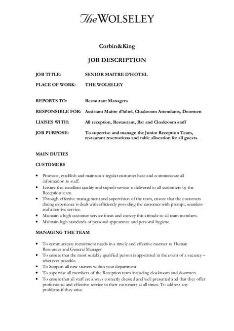Maitre D Resume Template by Maitre D Resume Sanitizeuv Sle Resume And Templates