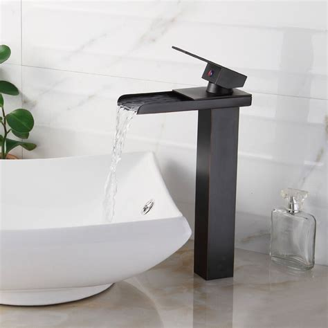 bathroom sink faucet vessel waterfall oil rubbed bronze