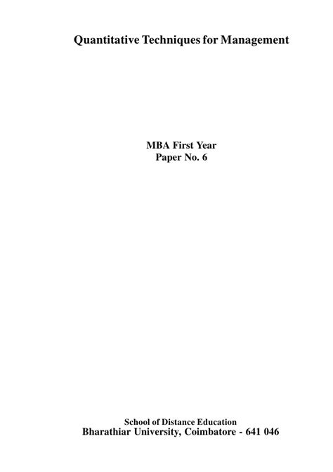 Quantitative Techniques For Management Mba by 7079581 Quantitative Techniques For Management